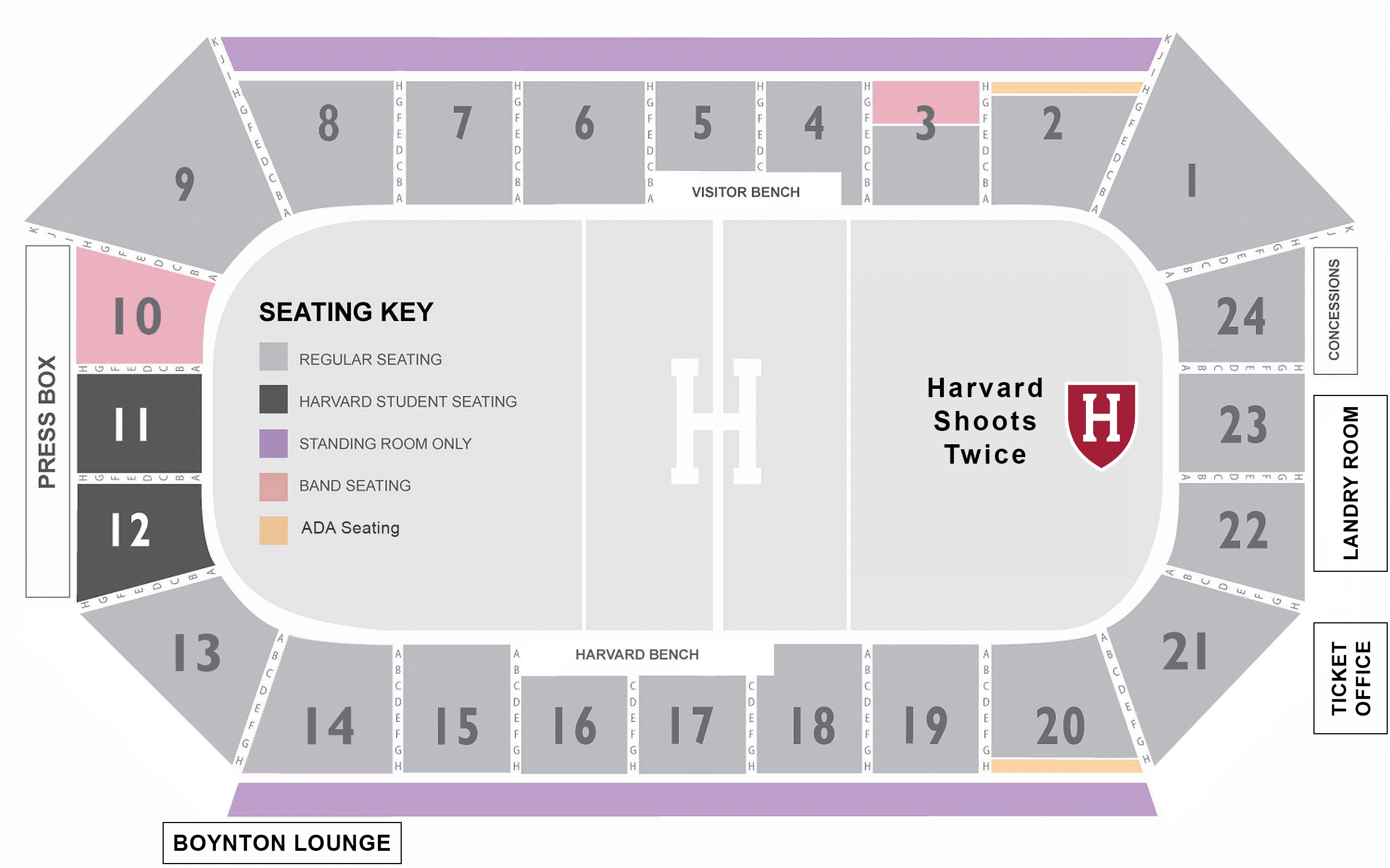 Bright-Landry Hockey Center Seat Map