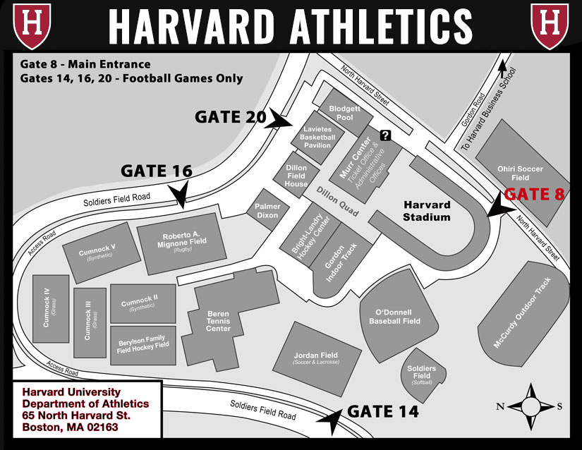 Harvard Athletics Parking Map